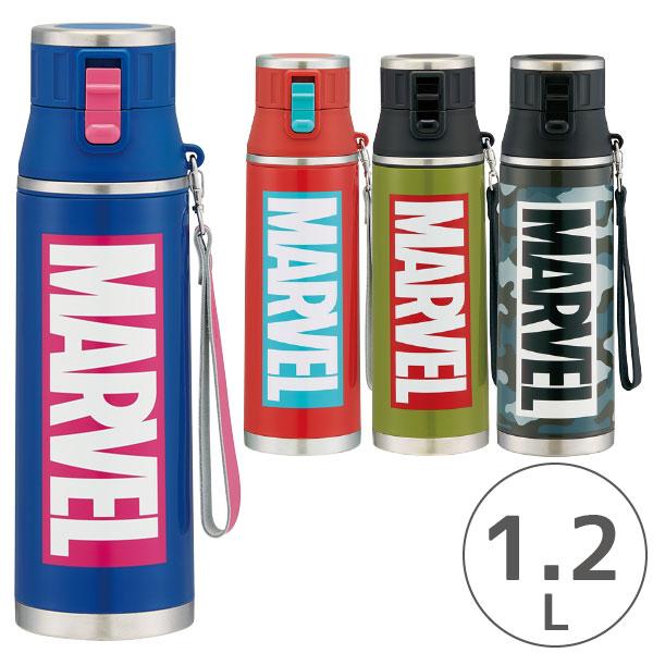 水筒 保冷 / ロック付き ワンプッシュ ステンレス ダイレクトボトル 1.2L MARVEL マーベル ロゴ /【ポイント 倍】