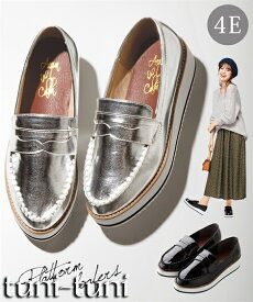 プラットフォームローファー(低反発中敷)(ワイズ4E) 靴(シューズ) 幅広 30代 40代 50代 女性 大きいサイズ レディース 送料無料