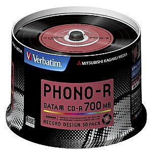 三菱化学メディア バーベイタムCD-R 700MB 1回記録用 48倍速 スピンドルケース 50枚パックレコードデザインレーベル