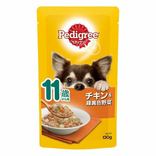 【訳あり】ドッグフード  マース賞味期限:6ヶ月以上ありますペディグリー 11歳から ほぐれチキン&野菜 130g(いぬ、犬、イヌ)(パウチ、ウェットフード、ペットフード)