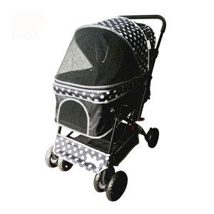【訳あり】ペットグッズドッグ NUOVOピッコロカーネ 対面式ペットカート Primo プリモ ブラック/ホワイト ドット 中型犬用バギー(いぬ、犬、イヌ)※デザインが多少異なる場合がございます