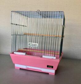 【訳あり】ペットグッズ GB 鳥かご 285-S 角型 メッキ仕上げ 底ピンク ケージ 鳥かご本体サイズ:サイズ297×236×330mm(鳥、インコ、十姉妹、ベニスズメ、文鳥)
