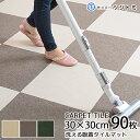 床にピッタリ! 吸着マット30cm×30cm 約4mm厚90枚セット(約5畳分になります)子供 犬 猫の汚れや傷からフローリングを守る軽い、洗…