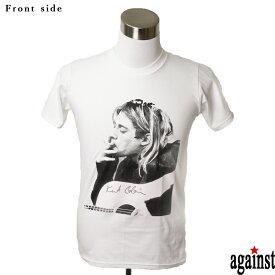 バンドTシャツ against Kurt Cobain カート・コバーン 音楽 プリントTシャツ グッズ ロック グランジ 洋楽 Tシャツ メンズ レディース サイズM&L