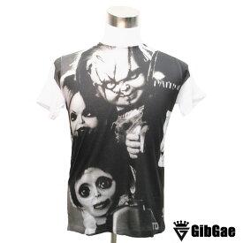 デザインTシャツ GibGae Chucky&Tiffany&Sit Face チャッキー&ティファニー&シットフェイス 映画Tシャツ ホラー・チャイルド プレイ・チャッキーの種 Tシャツ メンズ レディース サイズM&L