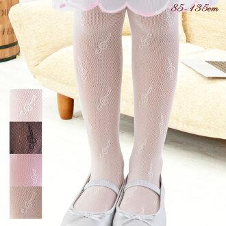모양 타이츠 음표 높은음자리표무늬 스타킹망 타이츠 아이 키즈 발표회 드레스에 일본제 흑백 핑크 초콜릿 베이지