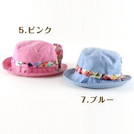 赤ちゃん ベビー服 シシュノン帽子 小花 リボン|ダンガリー小花リボン帽子|女の子にも男の子にも大人気♪エスケープサイズ:46cm 48cm 50cm【162】