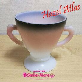 Hazel Atlas ヘーゼルアトラス OVIDE オバイドシリーズ ピンク グラデーション シュガーポット 砂糖入れ ミルクガラス キッチン 洋食器
