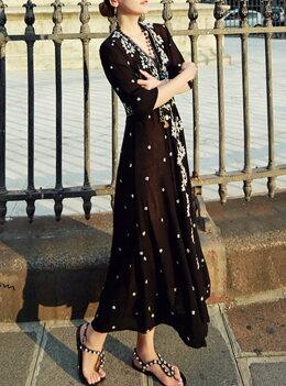 パーティードレス結婚式ドレス二次会結婚式ドレスレーストップス花柄刺繍マキシ丈ワンピース