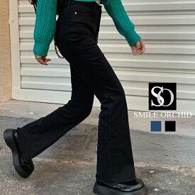 脚長美スタイルセミフレアデニムパンツ ストレッチフレアパンツ csy097