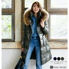 Shiny ground long down coat ethnic / Lady's // farewell party / graduation ceremony with the raccoon fur