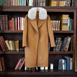 フォックスファーウールロングコートリアルファー超ロング大きいサイズアウターコートカシミヤコートウールコート毛皮foxファーレディース大人グレーキャラメルゴージャス30代40代50代yimo20702