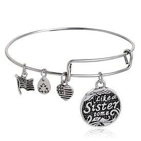 【ALECK ANNDRA NEEN】ブレスレット Like a Sister to me コインチャーム アレクアンドラニーン シルバー バングル 腕輪 アミュレット SPST008 レディース necklace 送料無料