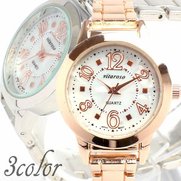 日本製ムーブメント 日常生活防水 シンプル3針 ホワイトシェル文字盤 小さめメタルベルト腕時計 3気圧防水 AV017 レディース腕時計 auktn 送料無料