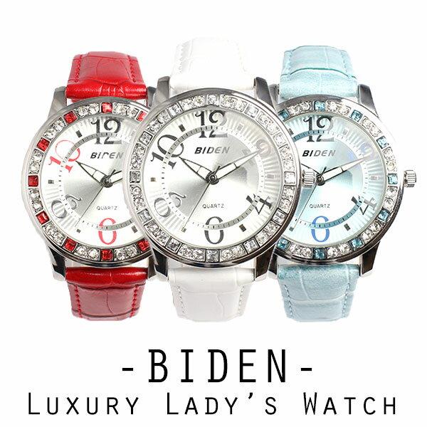 【BIDEN バイデン】日本製SEIKO EPSONムーブメント 日常生活防水 華やかラインストーン レザーベルトのレディース腕時計 BD002 送料無料 auktn