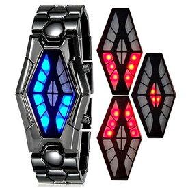 日常生活防水 ステンレスブレスレットのバングルLED腕時計 LEDデジタル時計 デジタルウォッチ メンズ腕時計