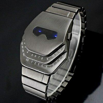 ガンメタ ステンレスブレスレットのバングルLED腕時計 LEDデジタル時計 デジタルウォッチ デイデイト 日付表示 メンズ腕時計 auktn