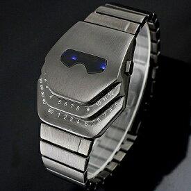 ガンメタ ステンレスブレスレットのバングルLED腕時計 LEDデジタル時計 デジタルウォッチ デイデイト 日付表示 メンズ腕時計