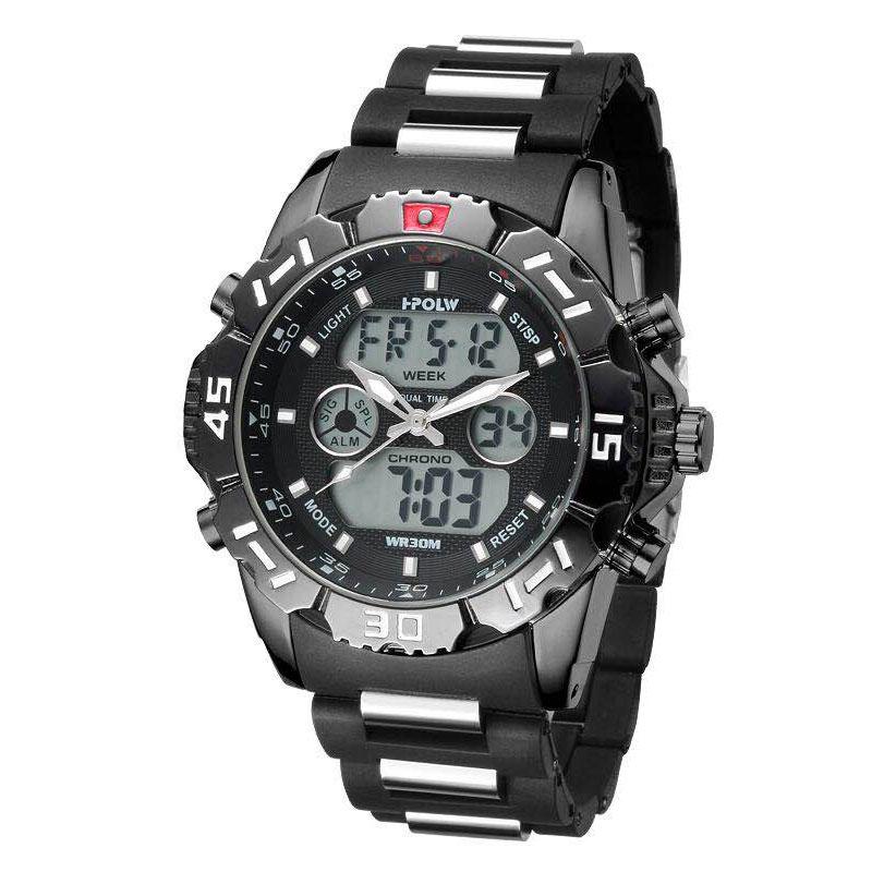 デュアルタイム アナデジ腕時計 デジアナ HPFS1510-BKBK アナログ&デジタル ダイバーズウォッチ風 3気圧防水 ラバーベルト クロノグラフ トリプルカレンダー バックライト アラーム 時報 メンズ腕時計 auktn 送料無料
