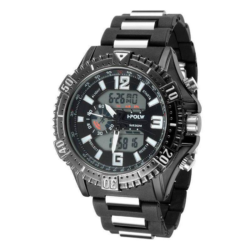 デュアルタイム アナデジ腕時計 デジアナ HPFS1702-BKBK1 アナログ&デジタル ダイバーズウォッチ風 3気圧防水 ラバーベルト クロノグラフ トリプルカレンダー バックライト アラーム 時報 メンズ腕時計 auktn 送料無料