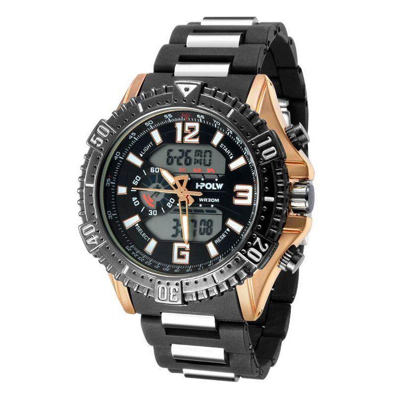 デュアルタイム アナデジ腕時計 デジアナ HPFS1702-PGBK1 アナログ&デジタル ダイバーズウォッチ風 3気圧防水 ラバーベルト クロノグラフ トリプルカレンダー バックライト アラーム 時報 メンズ腕時計 auktn 送料無料