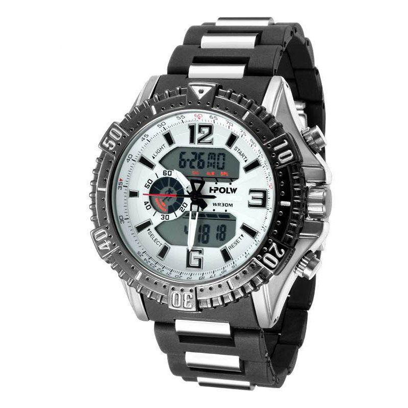 デュアルタイム アナデジ腕時計 デジアナ HPFS1702-SVWH1 アナログ&デジタル ダイバーズウォッチ風 3気圧防水 ラバーベルト クロノグラフ トリプルカレンダー バックライト アラーム 時報 メンズ腕時計 auktn 送料無料