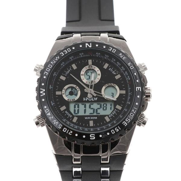 デュアルタイム アナデジ腕時計 デジアナ HPFS584-BKBK アナログ&デジタル ダイバーズウォッチ風 3気圧防水 ラバーベルト クロノグラフ トリプルカレンダー バックライト アラーム 時報 メンズ腕時計 auktn 送料無料