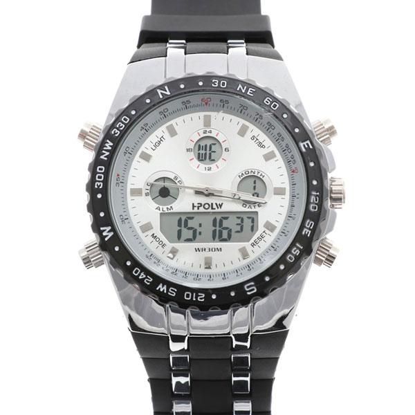デュアルタイム アナデジ腕時計 デジアナ HPFS584-SVBK アナログ&デジタル ダイバーズウォッチ風 3気圧防水 ラバーベルト クロノグラフ トリプルカレンダー バックライト アラーム 時報 メンズ腕時計 auktn 送料無料