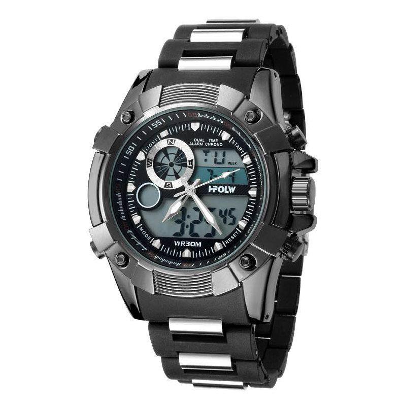 デュアルタイム アナデジ腕時計 デジアナ HPFS612-BKBK アナログ&デジタル ダイバーズウォッチ風 3気圧防水 ラバーベルト クロノグラフ トリプルカレンダー バックライト アラーム 時報 メンズ腕時計 auktn 送料無料