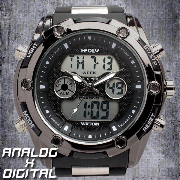 デュアルタイム アナデジ腕時計 デジアナ HPFS618B-BKBK アナログ&デジタル ダイバーズウォッチ風 3気圧防水 ラバーベルト クロノグラフ トリプルカレンダー バックライト アラーム 時報 メンズ腕時計 auktn 送料無料