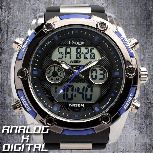 デュアルタイム アナデジ腕時計 デジアナ HPFS618B-BKBL アナログ&デジタル ダイバーズウォッチ風 3気圧防水 ラバーベルト クロノグラフ トリプルカレンダー バックライト アラーム 時報 メンズ腕時計 auktn 送料無料