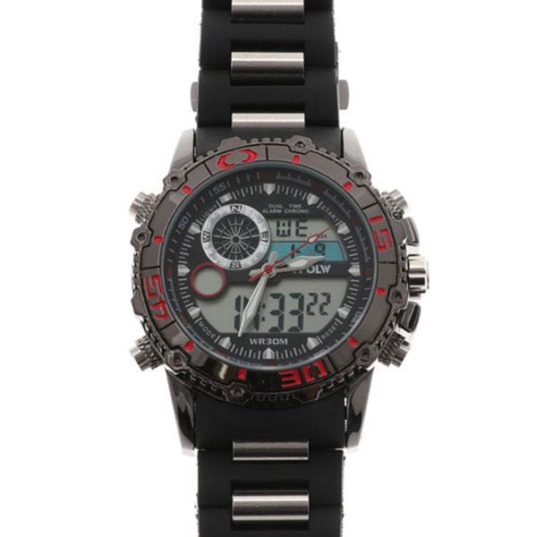 デュアルタイム アナデジ腕時計 デジアナ HPFS622-BKRD アナログ&デジタル ダイバーズウォッチ風 3気圧防水 ラバーベルト クロノグラフ トリプルカレンダー バックライト アラーム 時報 メンズ腕時計 auktn 送料無料
