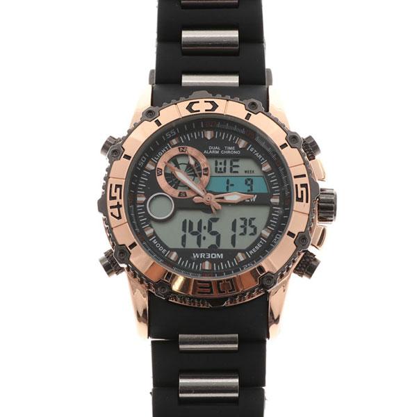 デュアルタイム アナデジ腕時計 デジアナ HPFS622-PGBK アナログ&デジタル ダイバーズウォッチ風 3気圧防水 ラバーベルト クロノグラフ トリプルカレンダー バックライト アラーム 時報 メンズ腕時計 auktn 送料無料