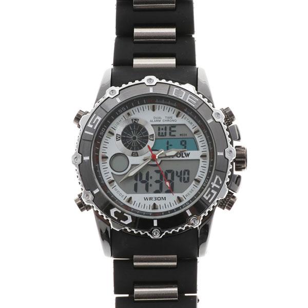デュアルタイム アナデジ腕時計 デジアナ HPFS622-WHBK アナログ&デジタル ダイバーズウォッチ風 3気圧防水 ラバーベルト クロノグラフ トリプルカレンダー バックライト アラーム 時報 メンズ腕時計 auktn 送料無料