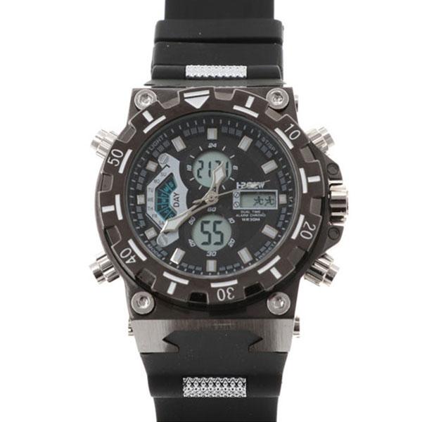 デュアルタイム アナデジ腕時計 デジアナ HPFS628-BKBK アナログ&デジタル ダイバーズウォッチ風 3気圧防水 ラバーベルト クロノグラフ トリプルカレンダー バックライト アラーム 時報 メンズ腕時計 auktn 送料無料