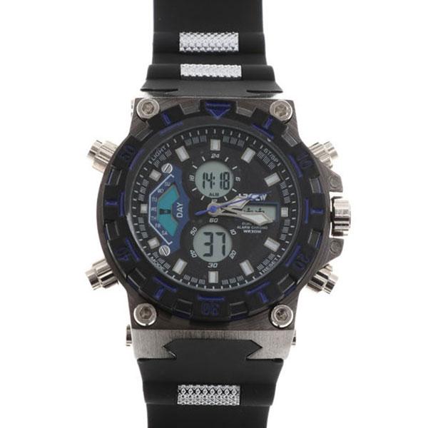 デュアルタイム アナデジ腕時計 デジアナ HPFS628-BKBL アナログ&デジタル ダイバーズウォッチ風 3気圧防水 ラバーベルト クロノグラフ トリプルカレンダー バックライト アラーム 時報 メンズ腕時計 auktn 送料無料