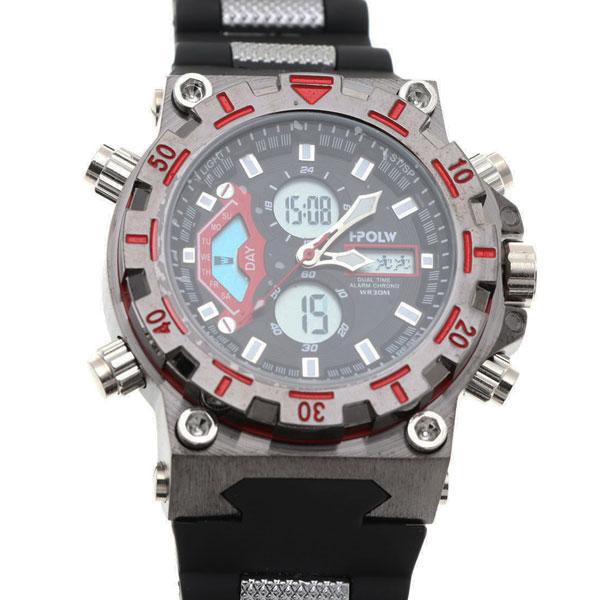 デュアルタイム アナデジ腕時計 デジアナ HPFS628-BKRD アナログ&デジタル ダイバーズウォッチ風 3気圧防水 ラバーベルト クロノグラフ トリプルカレンダー バックライト アラーム 時報 メンズ腕時計 auktn 送料無料