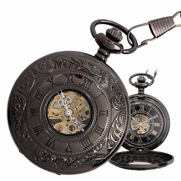 ポケットウォッチ 懐中時計 手巻き スケルトン 蓋付き シースルー PWA004 メンズ auktn 送料無料
