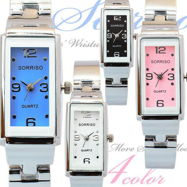 正規品SORRISOソリッソ 上品レクタンギュラーケースの大人可愛いバングル風の長方形腕時計 SR874L レディース腕時計 auktn 送料無料