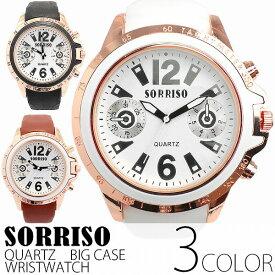 正規品SORRISOソリッソ ビッグケースにラバーベルトのきれいめカジュアルなフェイクダイヤル時計 フェイククロノグラフ SRF7 メンズ腕時計 送料無料