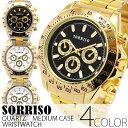 正規品SORRISOソリッソ 定番デザインにゴールドカラーの腕時計 フェイククロノグラフ フェイクダイヤル SRHI10 メンズ…