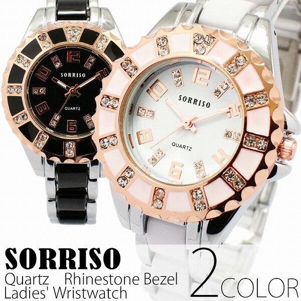 正規品SORRISOソリッソ ピンクゴールド装飾のラインストーンベゼル シルバーコンビベルト ブラック ホワイト SRHI12 レディース腕時計 auktn 送料無料