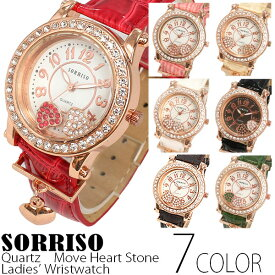 正規品SORRISOソリッソ カラーストーンのハートモチーフが転がるハートチャーム付き腕時計 SRHI3 レディース腕時計 送料無料