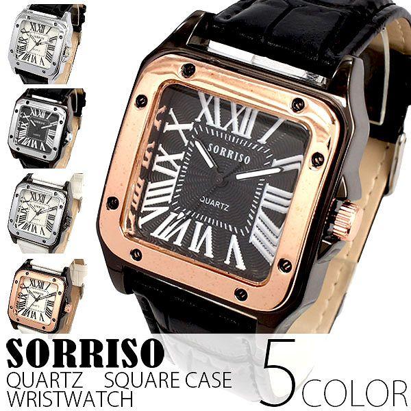 正規品SORRISOソリッソ 高級感漂うスクエアケースにローマ数字インデックスのシンプル上品時計 SRHI9 メンズ腕時計 auktn 送料無料