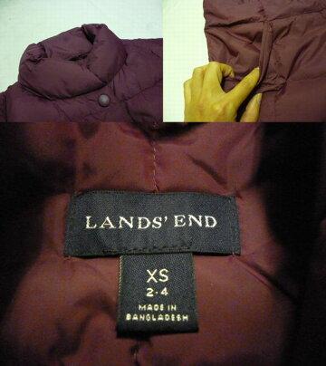 【送料無料】【あす楽】【中古】LAND'SENDランズエンドナイロンダウンベストワインレッドM相当/レディース