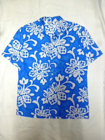 【送料無料】【あす楽】【中古】ハワイ製半袖コットンアロハシャツMライトブルー/メンズ