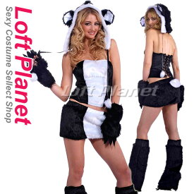 アニマルの着ぐるみ パンダのコスプレ キュートでセクシーなハロウィンの仮装衣装 レディース・コスチューム5点セット 黒白 M1-M2256
