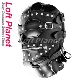 ボンテージのレザーマスク フルフェイスの本格SM拘束アイテム 編み上げ覆面コスチューム黒 WBDSM-HM1107A