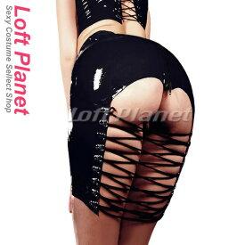 ボンテージのミニスカート オープンヒップ&編み上げ PVCエナメルのセクシーコスチューム黒 DO-PY-054-BK