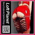 ボンテージのミニスカート・オープンヒップ&編み上げPVCエナメルのセクシーコスチューム赤DO-PY-054-RDモデル商品画像